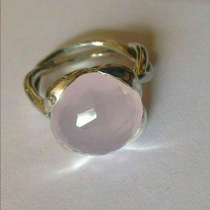 David Yurman 14mm Rose Quartz Ring Sz 7